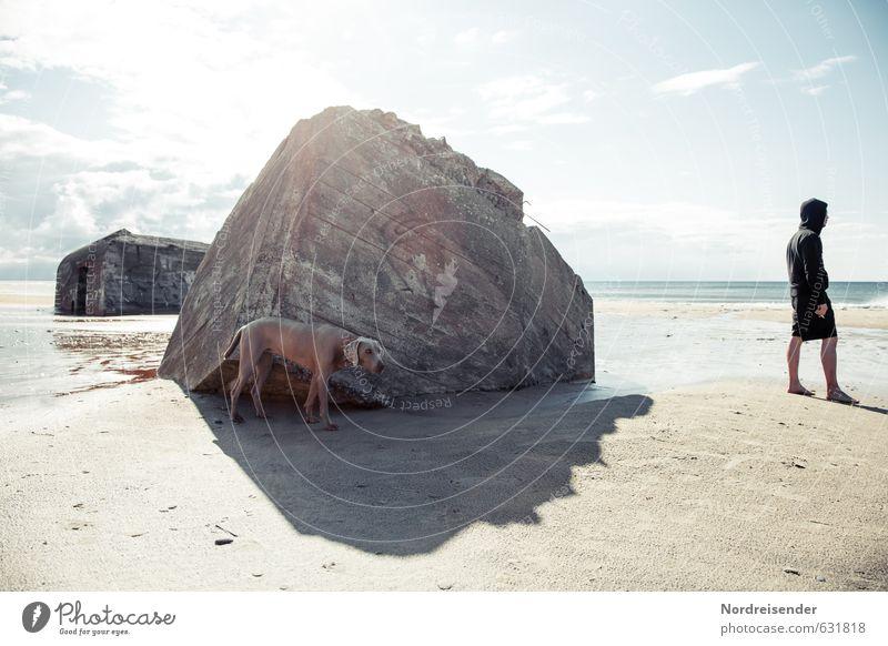 Rumstehen Sonne Sonnenbad Strand Meer Mensch Mann Erwachsene Sonnenlicht Sommer Klimawandel Schönes Wetter Nordsee Ruine Bauwerk Architektur Tier Hund Sand