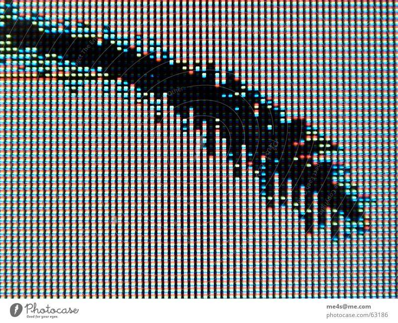 Es war einmal... weiß grün blau rot schwarz gelb Computer kaputt Punkt Handy Informationstechnologie Bildschirm gebrochen Mobilität anstrengen Riss