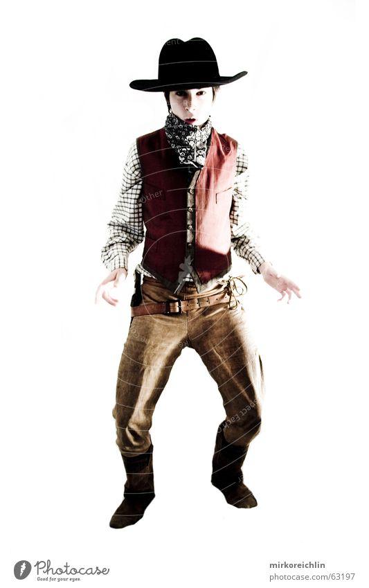 The Cowboy 3 Mann Junge wild Gewalt Hut Cowboy Westen Pistole Krimineller Weste Gewehr