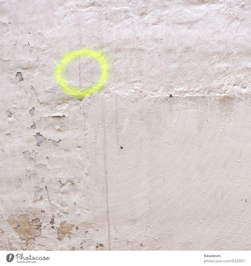 ziel erreicht. weiß Einsamkeit gelb Graffiti Wand Mauer Stein Fassade Kraft Schilder & Markierungen Beginn Kreis Wandel & Veränderung Macht planen Baustelle