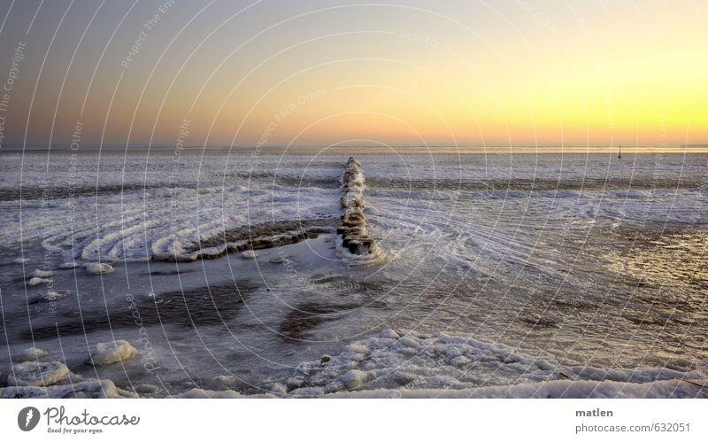 minus 17°C Landschaft Himmel Wolkenloser Himmel Horizont Winter Wetter Schönes Wetter Eis Frost Schnee Wellen Küste Bucht Meer frieren gefroren Buhne