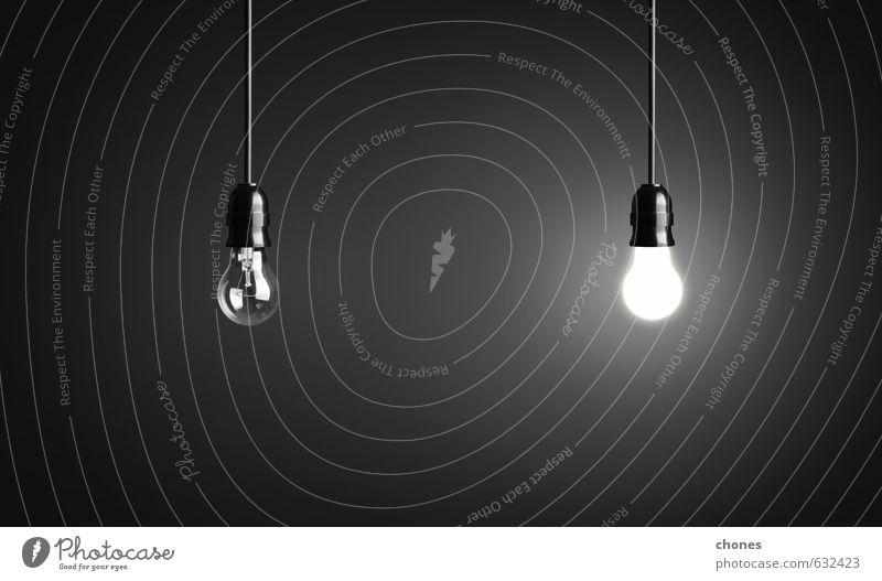 Glühbirnen auf schwarzem Hintergrund Design Lampe Technik & Technologie hell Energie Idee Kreativität Knolle Licht Entwurf Fotografie elektrisch Innovation