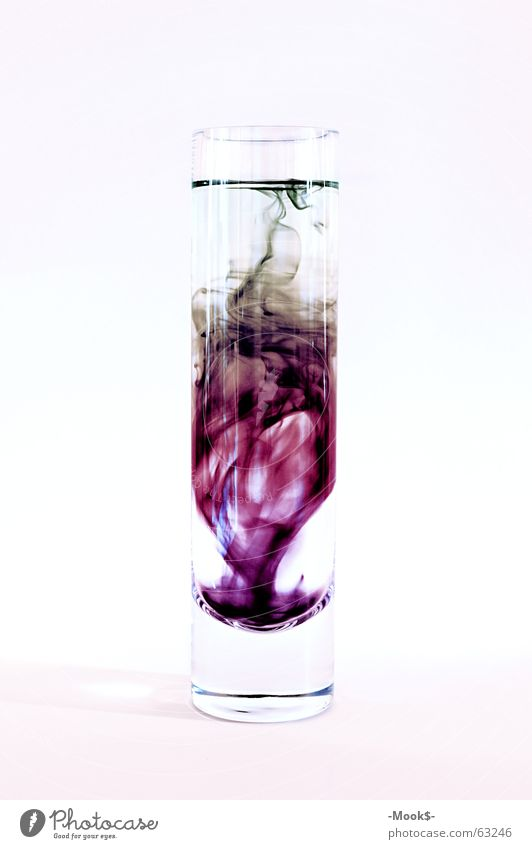 Tintenmix Wasser hell Glas violett durchsichtig trüb schwer Tinte Farbstoff