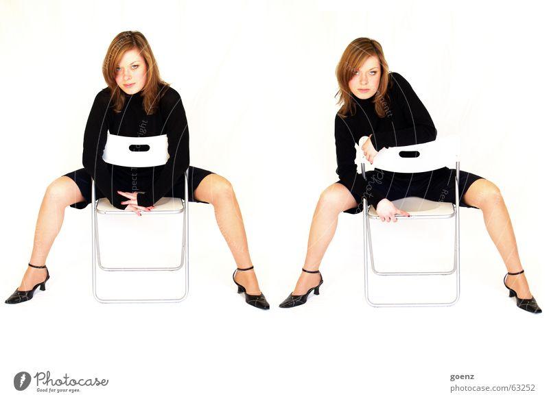 Doppelpack Frau schön schwarz Mode Stuhl Körperhaltung Kosmetik Doppelbelichtung herausfordernd