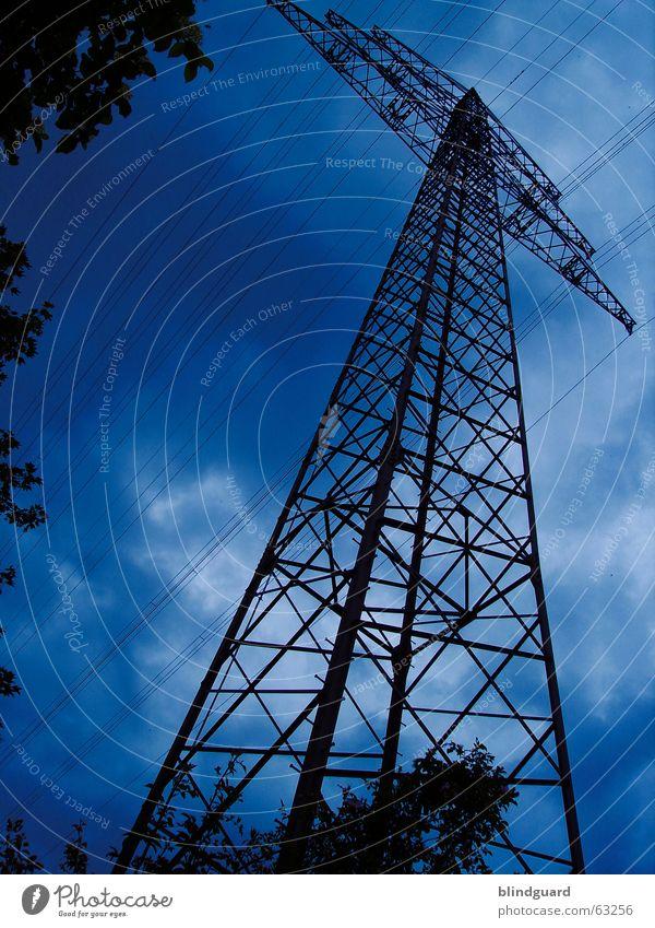 High Voltage Strommast 30 Antenne Elektrizität Energiewirtschaft Elektrisches Gerät elektrisch Leitung Hochspannungsleitung Gier Wolken Donnern Kabel Himmel