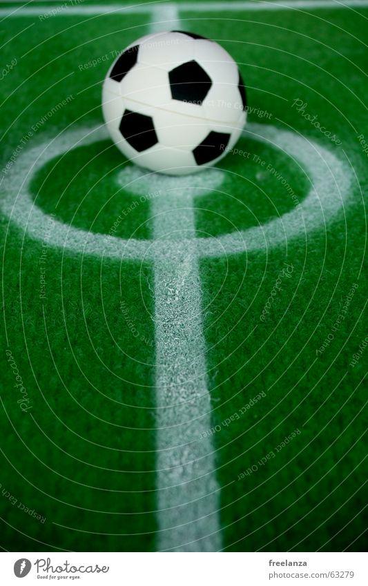 WM, OOOOLEEEEEEEEEEEEEEE Freizeit & Hobby Spielen Ball Linie grün schwarz weiß Dinge Farbfoto Mittellinie Markierungslinie Kunstrasen Mittelkreis Miniatur