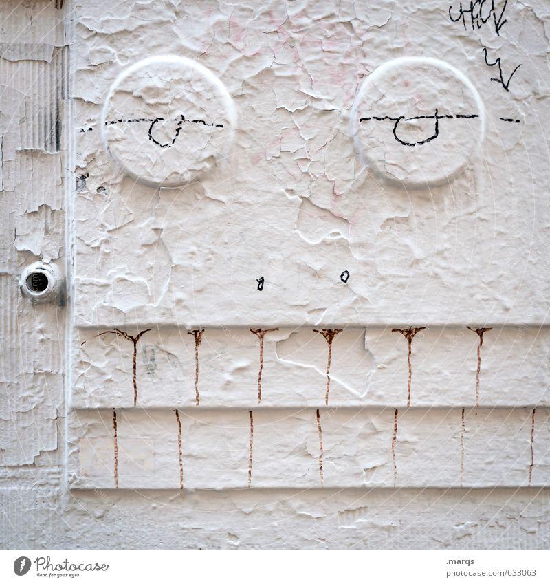 Why don't you talk to me? weiß Freude Gesicht Graffiti Wand lustig Mauer außergewöhnlich hell Lifestyle Coolness Gesichtsausdruck trashig skurril Subkultur