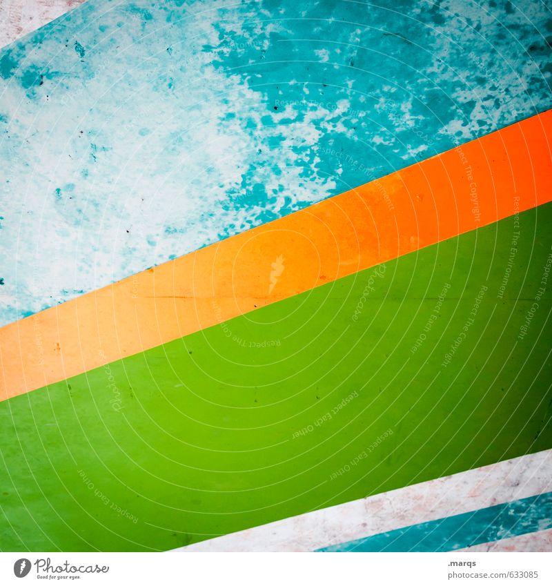 Gestreift elegant Stil Design Mauer Wand Beton Streifen alt Coolness trendy retro grün orange türkis Farbe Verfall Farbfoto mehrfarbig Außenaufnahme Nahaufnahme