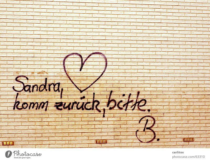 graffiti an der Wand |Trennung Mensch Mauer Backstein Graffiti Herz Gefühle Liebeskummer Einsamkeit Reue Liebesaffäre Spray Abschied Scheidung Missverständnis