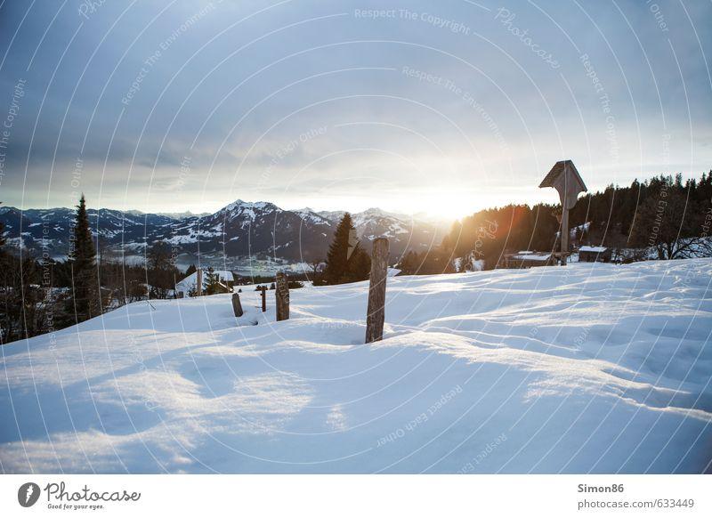 Bödele Umwelt Natur Landschaft Himmel Wolken Horizont Sonne Sonnenaufgang Sonnenuntergang Sonnenlicht Winter Wetter Schnee Alpen Berge u. Gebirge Gipfel