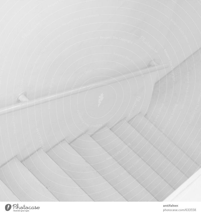 Platz für Farbe weiß ruhig kalt Wand Wege & Pfade Innenarchitektur Gebäude Architektur Mauer grau Stein Linie Treppe Raum ästhetisch Beginn