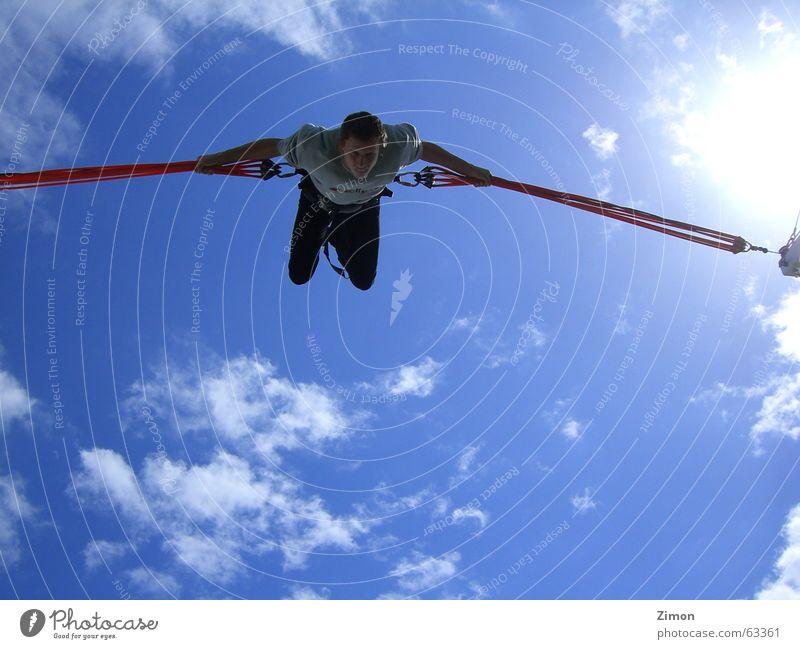 Fly so High Himmel blau Freude Wolken Freiheit Glück fliegen hoch Geschwindigkeit Niveau fantastisch Salto Bungee