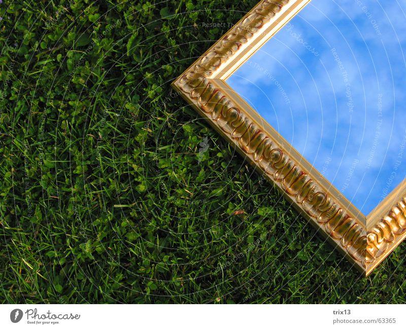 spiegelein Himmel grün Wolken Wiese Gras gold liegen Spiegel Rahmen Rechteck