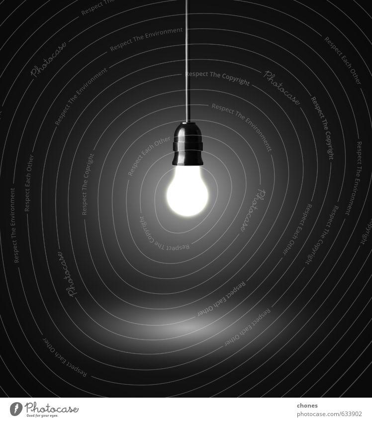 glühende Hängelampe an einem Draht Design Lampe Technik & Technologie Industrie hell schwarz Energie Idee Kreativität Knolle Licht Fotografie elektrisch