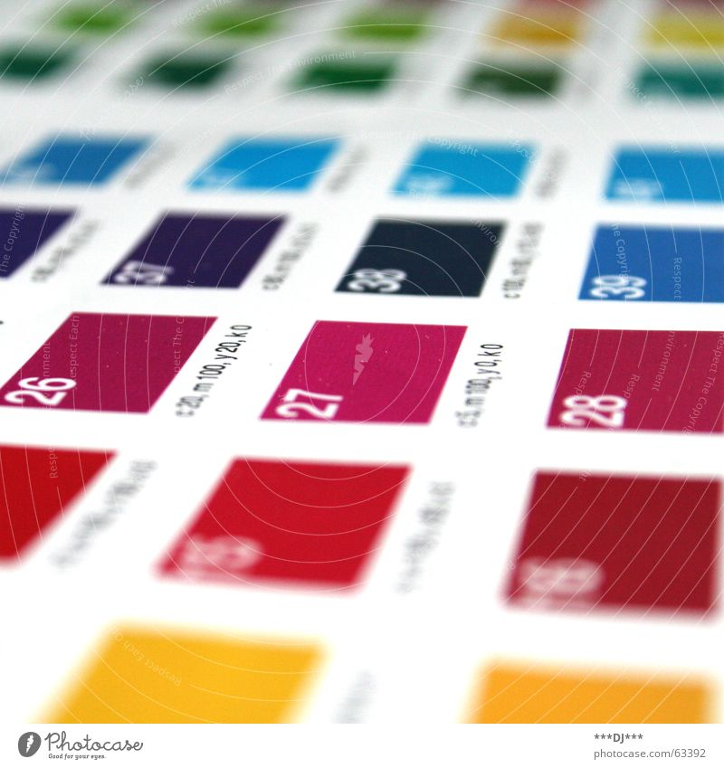 CMYK grün blau rot schwarz gelb Farbe Feld Ziffern & Zahlen wählen Anordnung sortieren Druck zyan Entscheidung Druckerzeugnisse magenta