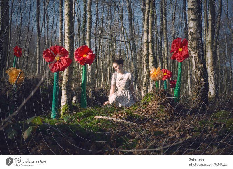 rote Klunker Mensch Frau Natur Jugendliche Pflanze Sonne Baum Blume Landschaft 18-30 Jahre Wald Erwachsene Umwelt feminin Frühling Blüte