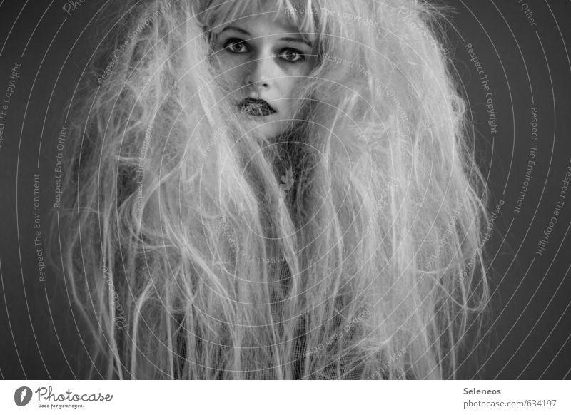 haste maln Kamm? Mensch Frau Jugendliche 18-30 Jahre Gesicht Erwachsene Auge feminin Haare & Frisuren Kopf wild Mund Nase Lippen langhaarig Punk