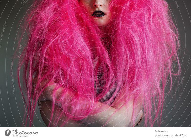 dezent Haare & Frisuren Kosmetik Lippenstift Mensch feminin Frau Erwachsene Kopf Nase Mund Arme 1 18-30 Jahre Jugendliche Subkultur Punk Rockabilly langhaarig