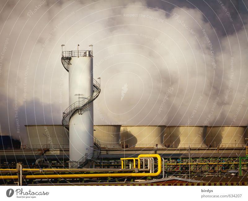 Chemieindustrie bedrohlich Turm Industrie Rauchen Risiko Röhren Stress Klimawandel Umweltverschmutzung Industrieanlage Wasserdampf Nordrhein-Westfalen