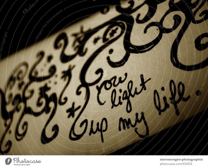 light up...II Brief Liebesbrief Schnörkel Gemälde Zettel Makroaufnahme Sepia körnung Stern (Symbol)