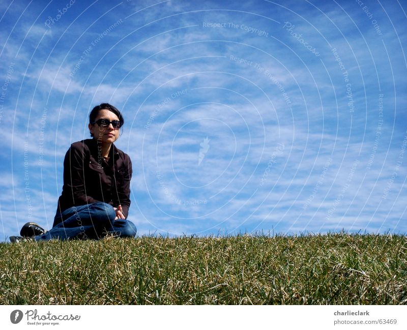 girl on lawn Himmel woman sky grass glasses sunglasses clouds