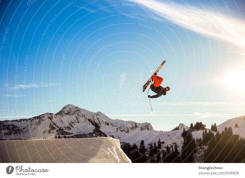 Flatspin Mensch Natur blau weiß Landschaft Winter schwarz gelb Berge u. Gebirge Schnee Bewegung Sport fliegen maskulin Freizeit & Hobby Lifestyle