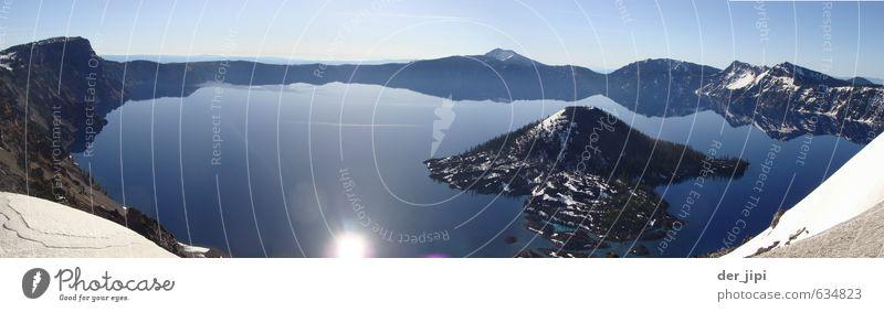 Blue Mirror wandern Umwelt Natur Landschaft Wasser Himmel Wolkenloser Himmel Horizont Sonne Winter Klima Schönes Wetter Eis Frost Schnee Berge u. Gebirge Gipfel