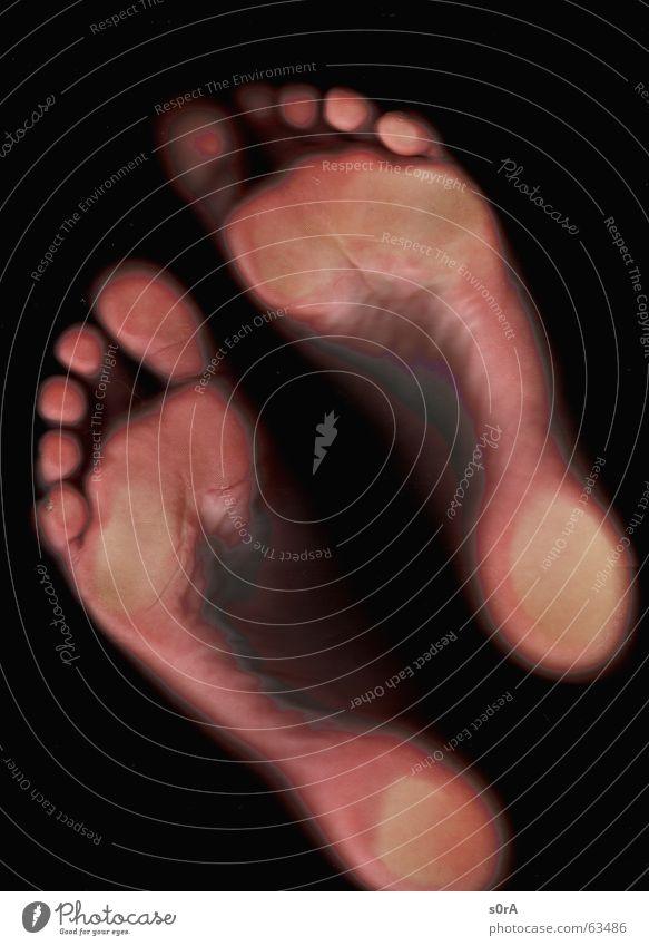 scanning V Zehen Fußballen schwarz Hacke Haut Barfuß
