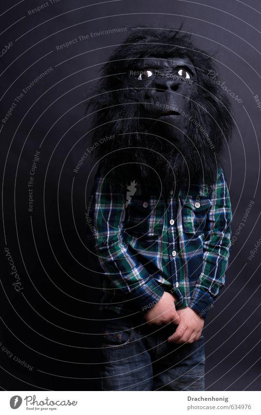 Uuuuuaaaaa uuuuaaa.. Karneval Halloween Kind 1 Mensch Zoo Hemd Hose schwarzhaarig Behaarung Tier Tiergesicht geheimnisvoll Kindheit Affen Gorilla Maske