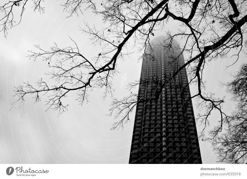 In den nebligen Himmel Nebel Baum Messe Frankfurt Deutschland Europa Stadt Stadtzentrum Hochhaus Turm Gebäude Architektur Fassade Wahrzeichen Beton Glas groß