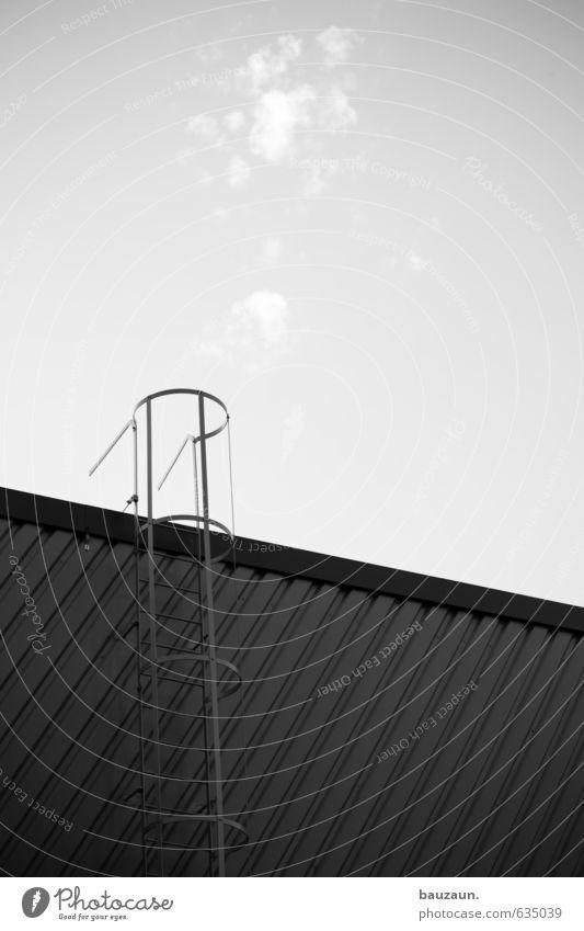 habemus papam. Leiter Himmel Wolken Klima Schönes Wetter Stadt Industrieanlage Fabrik Bauwerk Gebäude Mauer Wand Treppe Fassade Dach Rettungsleiter Metall