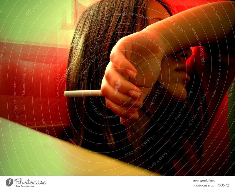 go away sunshine Sonne grün rot gelb Haare & Frisuren Rauchen Zigarette Launisch