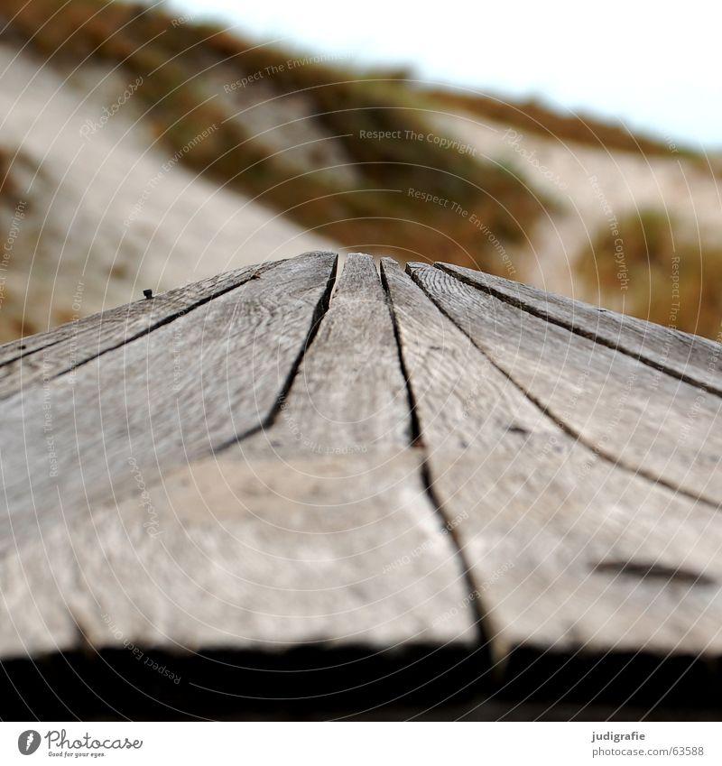 Zugespitzt Wasserfahrzeug Holz Strand braun grün Meer See Darß Fischereiwirtschaft Unschärfe salzig Farbe Küste Linie Spitze Stranddüne Sand Strukturen & Formen