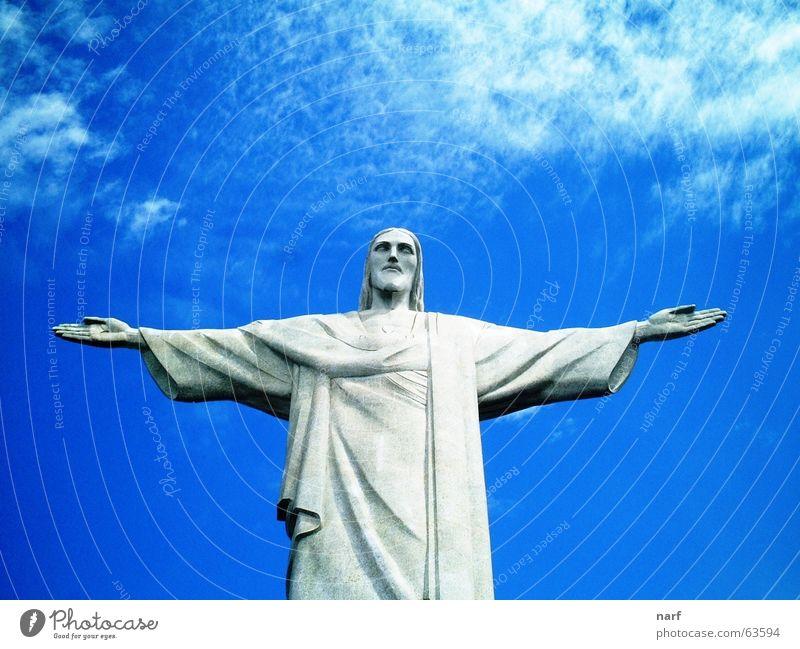 Christ the Redeemer Brasilien Jesus Christus Blauer Himmel São Paulo sculpture clouds arms wide open christ the redeemer