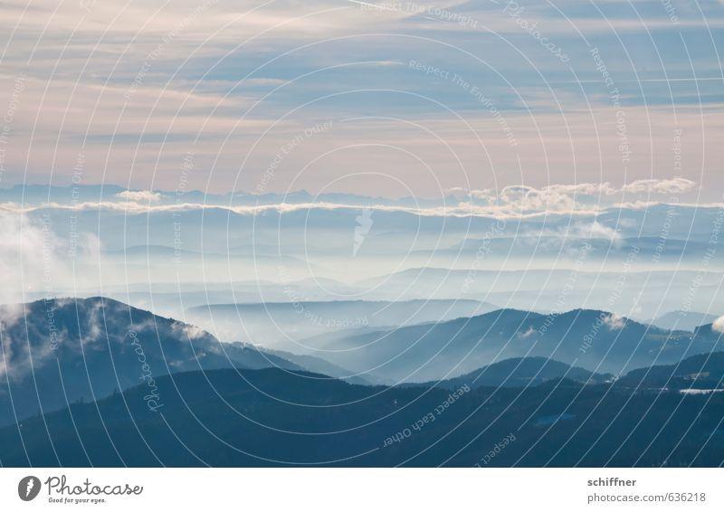 Weite Umwelt Natur Landschaft Himmel Wolken Winter Klima Klimawandel Wetter Schönes Wetter Nebel Hügel Felsen Alpen Berge u. Gebirge Gipfel