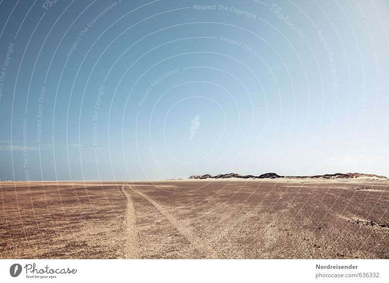 Offroad Abenteuer Ferne Expedition Motorsport Klima Klimawandel Schönes Wetter Küste Wüste Verkehrswege Wege & Pfade Sand fahren heiß trocken blau braun Fernweh