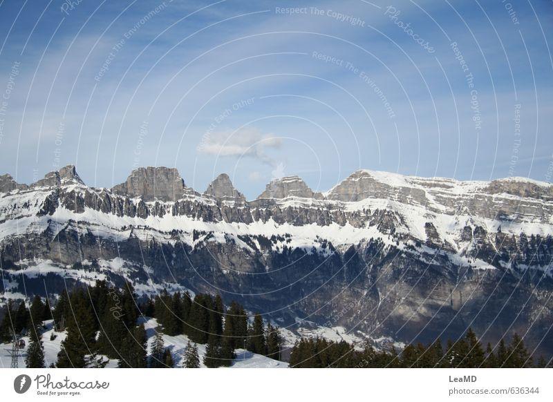 Winterwunderwelt Himmel Natur Ferien & Urlaub & Reisen blau grün weiß Erholung ruhig Wolken Winter Berge u. Gebirge Umwelt Schnee Freiheit Horizont Freizeit & Hobby