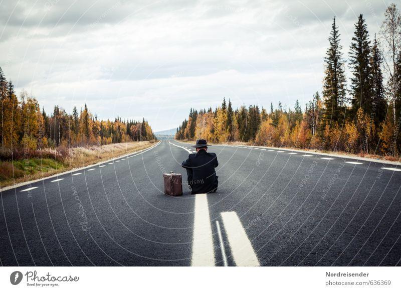Auf dem Strich sitzen.... Lifestyle Glück Erholung Ferien & Urlaub & Reisen Ferne Freiheit Business Ruhestand Feierabend Mensch Mann Erwachsene Wald Straße