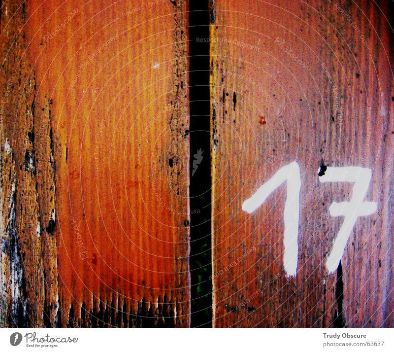 postcard no. 17 Holz Tisch Holztisch Oberfläche Ziffern & Zahlen braun weiß schwarz Holzbrett betrag Strukturen & Formen