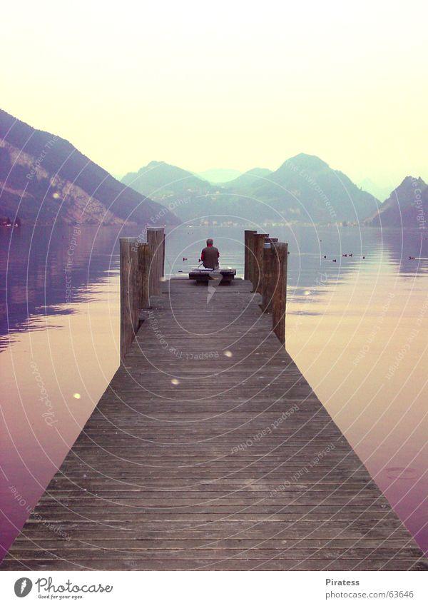 Fischer Wasser ruhig Einsamkeit See Fischer