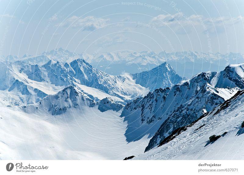 Blick vom Stubaitalgletscher Sport Umwelt Natur Landschaft Urelemente Himmel Winter Klima Klimawandel Schönes Wetter Schnee Alpen Berge u. Gebirge Gipfel