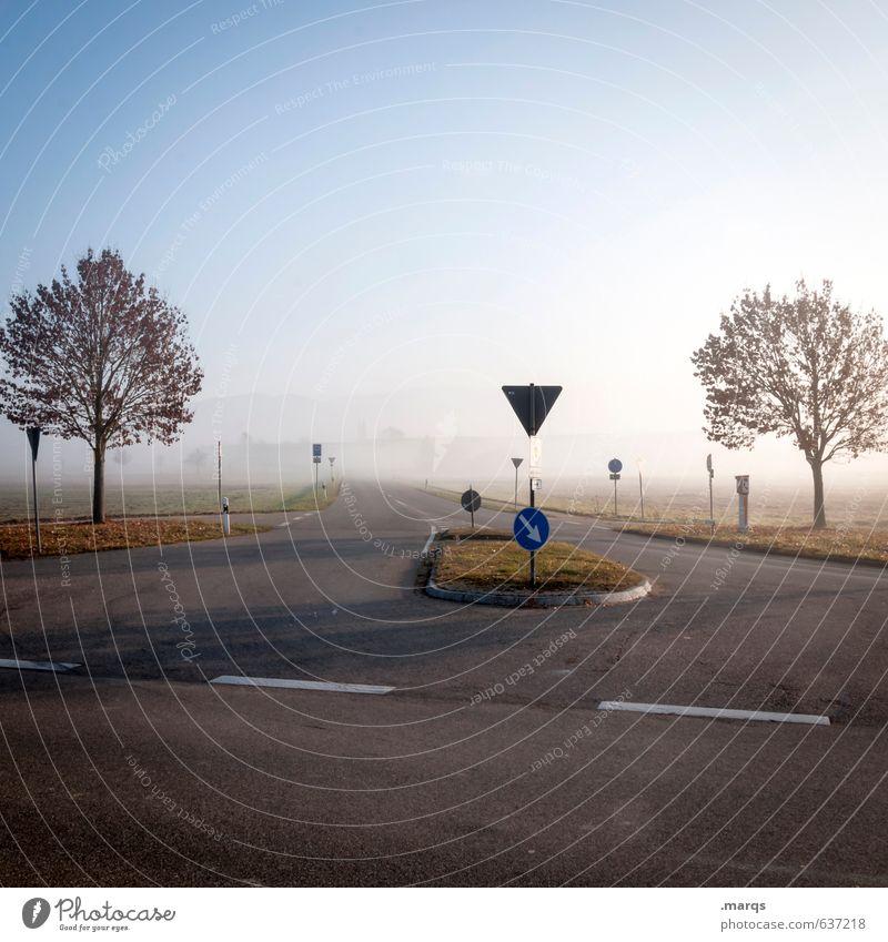 Hallo Frühling Umwelt Natur Landschaft Wolkenloser Himmel Horizont Sonnenlicht Klima Schönes Wetter Nebel Baum Verkehr Verkehrswege Straße Straßenkreuzung