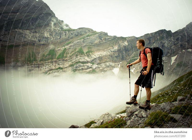 wander-lust Natur Jugendliche Ferien & Urlaub & Reisen Mann Sommer Landschaft Wolken 18-30 Jahre Ferne Junger Mann Erwachsene Berge u. Gebirge Freiheit Felsen