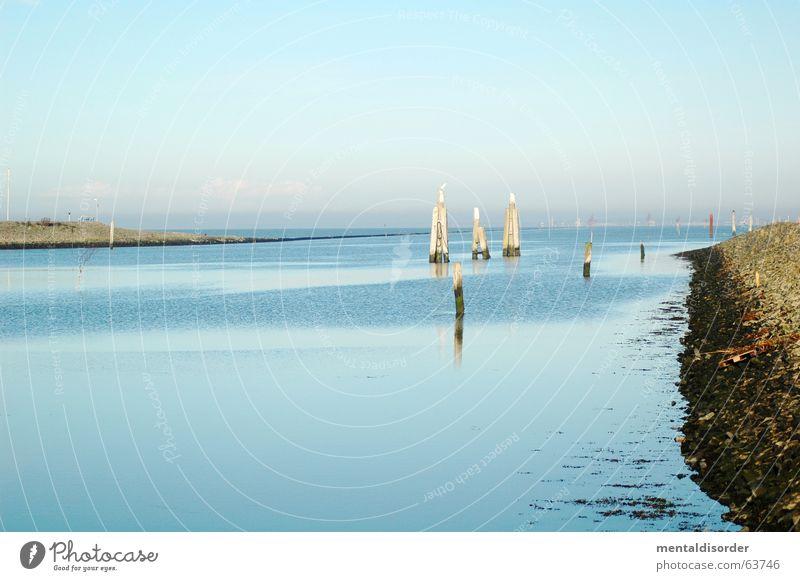 friesisch herb ... Wasser Meer blau Strand Ferien & Urlaub & Reisen ruhig Erholung Holz Linie Kraft Wellen Küste Hafen Anlegestelle brechen Poller