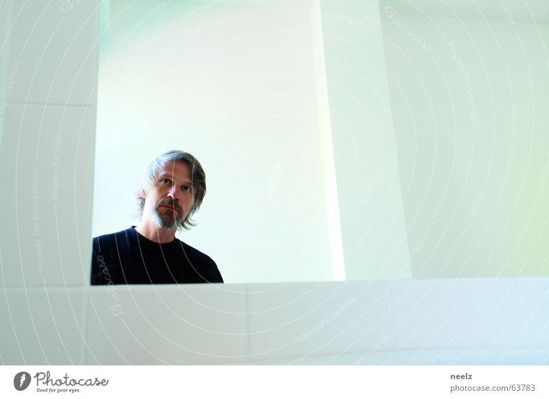 face in the mirror Spiegel Mann schwarz weiß Bart Kontrast Blick