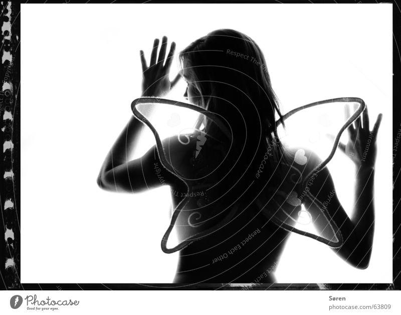 Butterflyeffekt Frau nackt Gefühle zart berühren Schmetterling Akt Vorsicht zerbrechlich Schwarzweißfoto