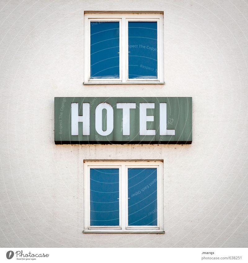 Hotel Ferien & Urlaub & Reisen Tourismus Dienstleistungsgewerbe Business Stadt Gebäude Architektur Fassade Fenster Schilder & Markierungen einfach blau weiß