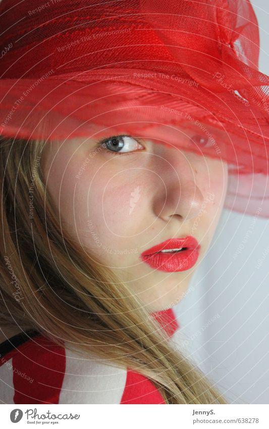 Das Mädchen mit dem roten Hut Mensch Kind Jugendliche schön Farbe rot Junge Frau Mädchen Gesicht feminin Mode elegant blond 13-18 Jahre geheimnisvoll Hut