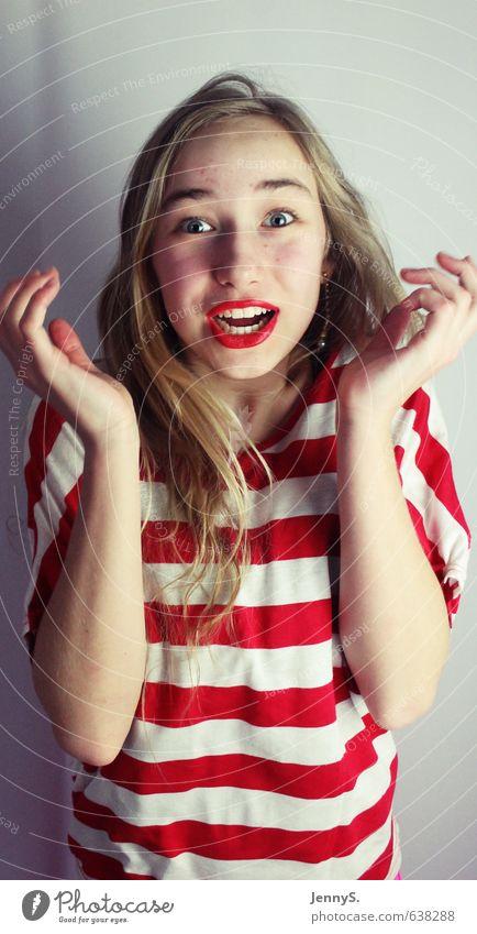 Begeisterung Mensch Kind Jugendliche rot Mädchen Freude feminin lustig lachen Glück blond leuchten 13-18 Jahre Fröhlichkeit Lebensfreude schreien
