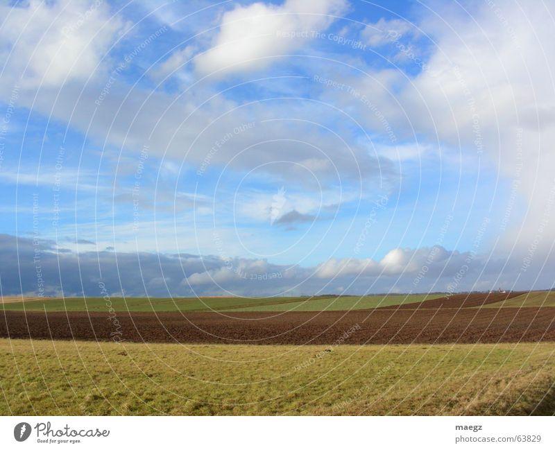 jwd pendeln Natur Himmel weiß grün blau Wolken Freiheit Landschaft braun Feld frisch Dorf Landwirtschaft